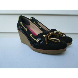 Sperry Top Sider Wedge Goldfish Black Leather Gold Tie 9518739 Women's Size 9 M